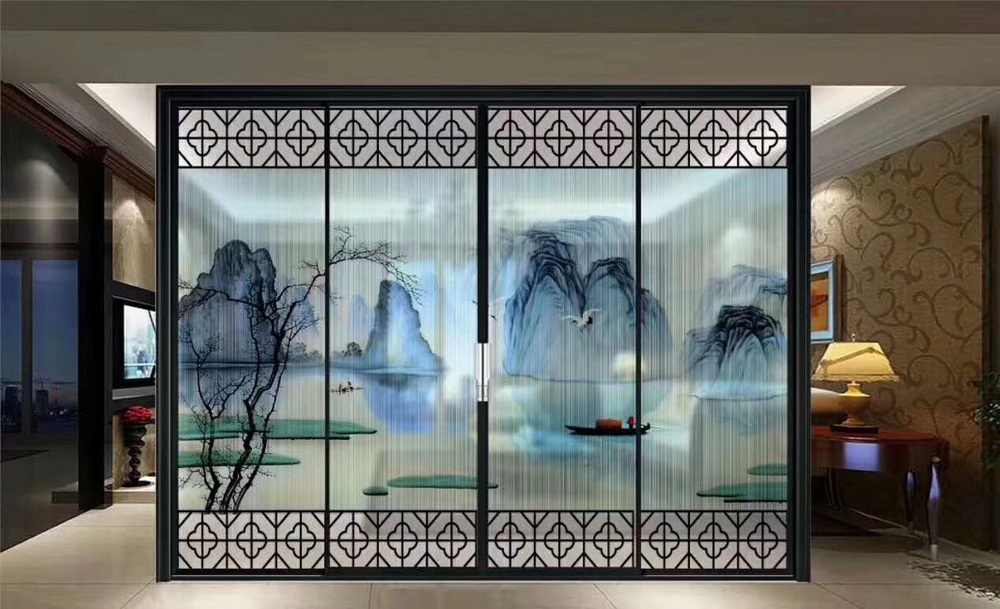 山水绢画玻璃